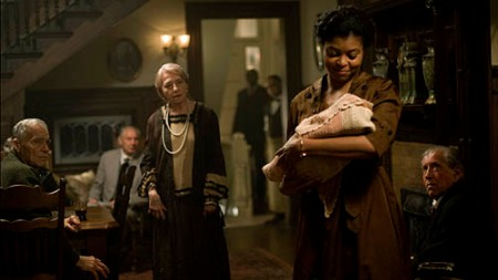Taraji P. Henson introduces Benjamin Button, photo credit to Merrick Morton